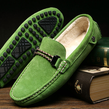 Autumn and winter plus velvet men's Peas shoes men's leather warm casual shoes Mens metal buckle lazy shoes 8831-1