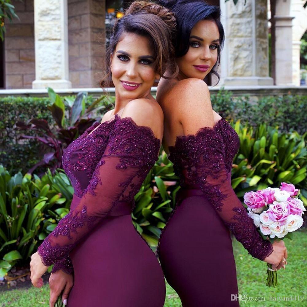 Sexy Lace Burgundy   Bridesmaid     Dresses   2017 Mermaid Long Sleeve Beaded Long   Bridesmaid     Dress   Formal Maid Of Honor