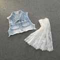 2016 Baby Kids Fashion Lace Patchwork Jean Vest  Dresses , Princess Girls Fall Fairy Tulle Dress 5 pcs/lot,Wholesale