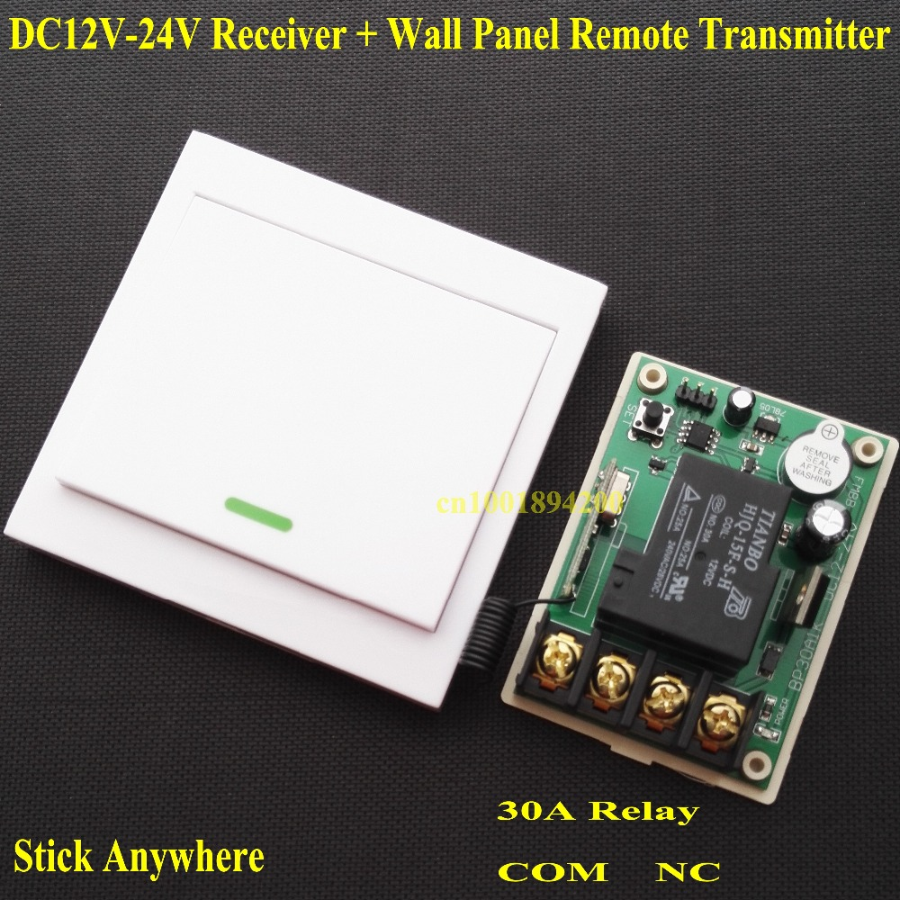 DC 12V 13V 14V 15V 16V 18V 24V Relay Receiver 30A RF Remote Control Switch + Wall Panel Remote Transmitter ASK Learning Code 315 цены