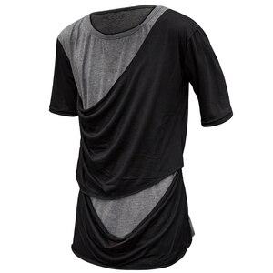 Image 5 - Men summer patchwork punk hip hop short sleeve t shirt asymmetric design street wear man gothic vintage stage tee shirts costume