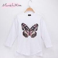 2018 nuevo producto niños ropa niños camiseta mariposa full Print 100% algodón Niño Camiseta larga Camisas niña camiseta superior camiseta