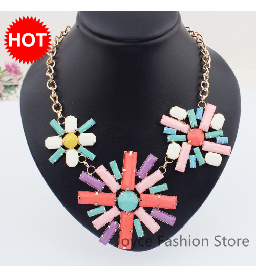 Min Order $10,Charm Necklace Designer Jewelry,Retro Colorful Big Flowers Chunky Necklace Fashion,Accessories For Women,N20