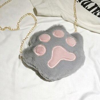1 Pcs Women Student Shoulder Crossbody Bag Durable Anti-wear Cute Plush Cat Paw Bags For Mobile Phone 18x20x3CM
