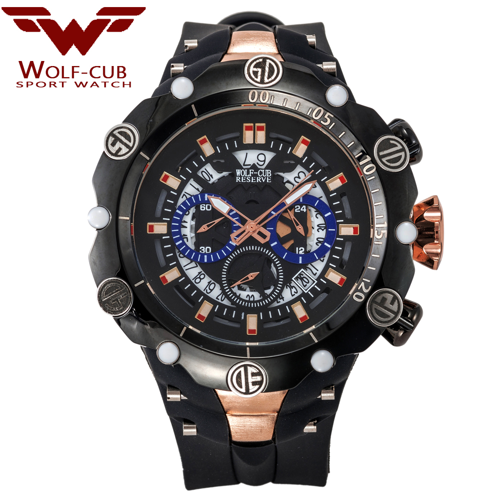 IsMyStore: WOLF-CUB Big Dial Men's Sports Watches Waterproof Red Dial Man Steel Chronograph Quartz Wrist Watch Military Relogio Masculino