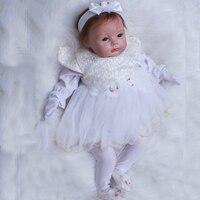 OtardDolls 22 Inch Soft Silicone Reborn Baby Dolls Realistic Newborn Baby Doll Toddler Cute Princess Dress Girl Birthday Gift
