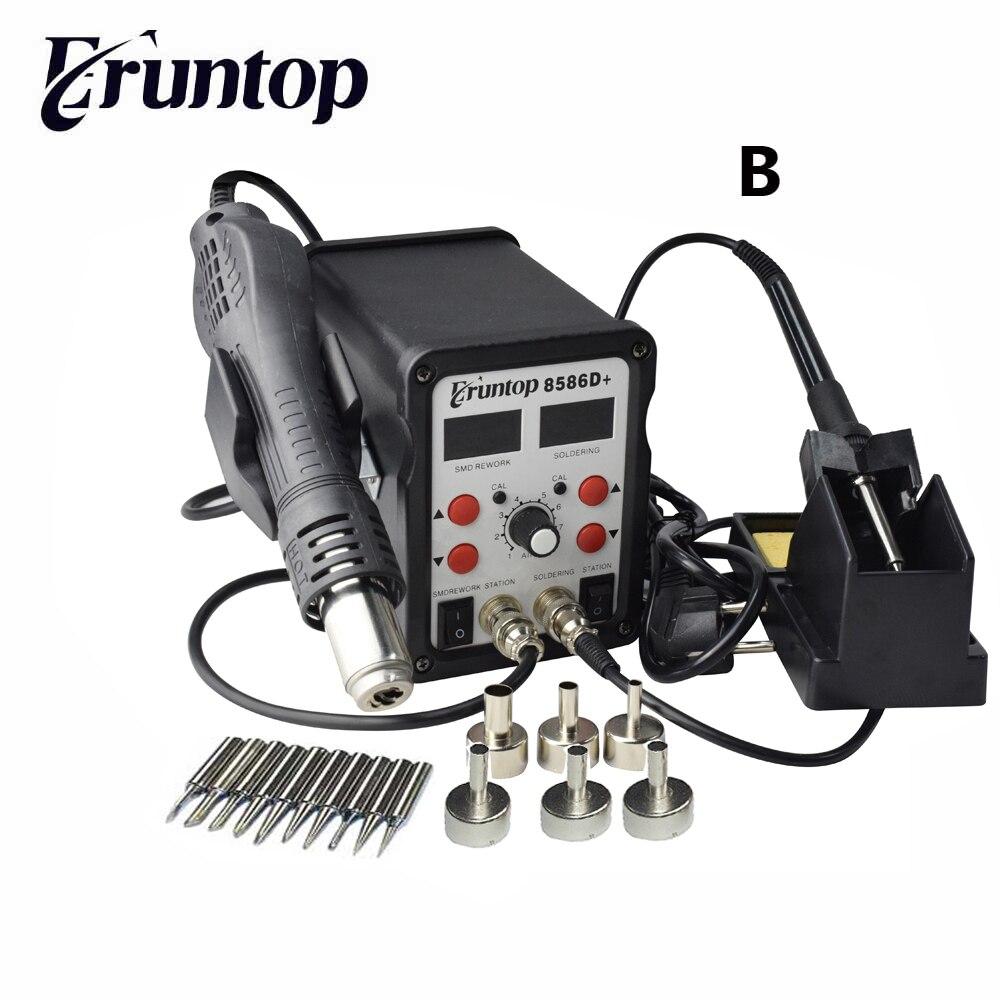 2 en 1 Eruntop 8586D + doble pantalla Digital soldadores eléctricos + pistola de aire caliente mejor estación de reparación SMD mejorada 8586