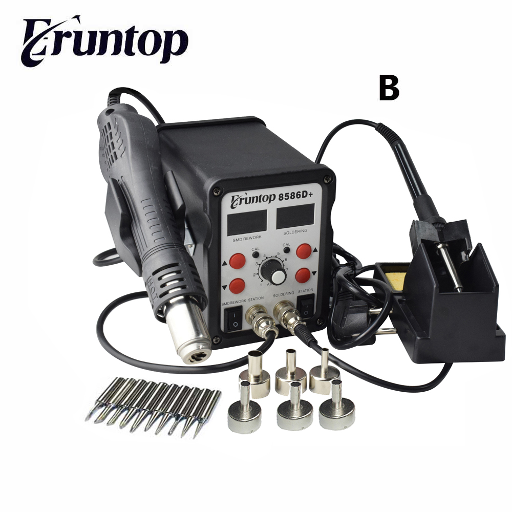 2 in 1 Eruntop 8586D+ Double Digital Display Electric Soldering Irons +Hot Air Gun Better SMD Rework Station Upgraded 8586