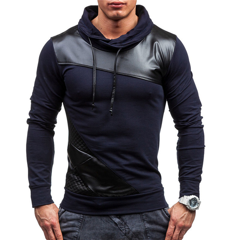 Vertvie Patchwork Mens Hooded Pullover Shirts Full Sleeve Pockets Zipper Outwork Sportswear Breathable Hoodies Running Jackets