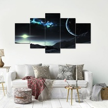 5 Pieces Outer Space Planet Paintings HD Prints Earth Asteroids Posters Modular Framework Canvas Wall Art Pictures Home Decor