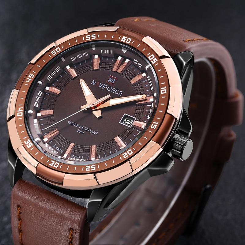 NAVIFORCE Brand Men's Sport Quartz Watch Waterproof Leather Band