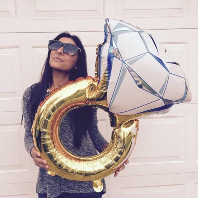 Globo grande de 43 pulgadas, anillo de diamante, globos de aluminio, decoración inflable para boda globo de helio, suministros para fiestas y eventos