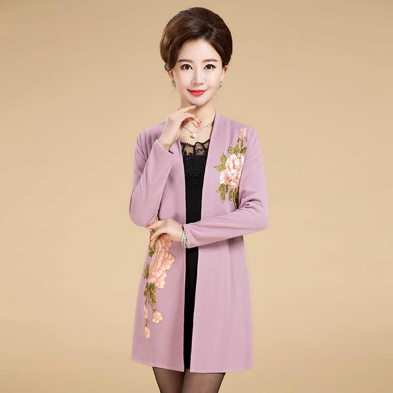 Artı Boyutu XL-5XL Halk özel Kazak 2019 İlkbahar Sonbahar Kadın Ince Şal Moda Zarif Işlemeli Hırka Feminino JXT102