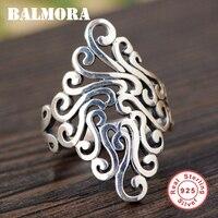 BALMORA 100% כסף אמיתי סטרלינג 925 טבעות סדירות לנשים גברים עיצוב ייחודי תכשיטי אופנה טבעת ניתן לשנות את גודל Anillo SY20925