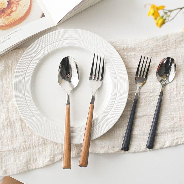 Retro Vintage Cutlery Set Stainless Steel Metal Wooden Handle Dinnerware Set Knife Fork Dinner Western Food & Retro Vintage Cutlery Set Stainless Steel Metal Wooden Handle ...