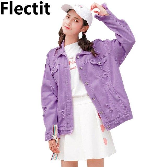 Flec Autumn Winter Purple Violet Ripped Oversize Women Denim Jackets 2018 Size Jeans Jacket Coat Female Basic