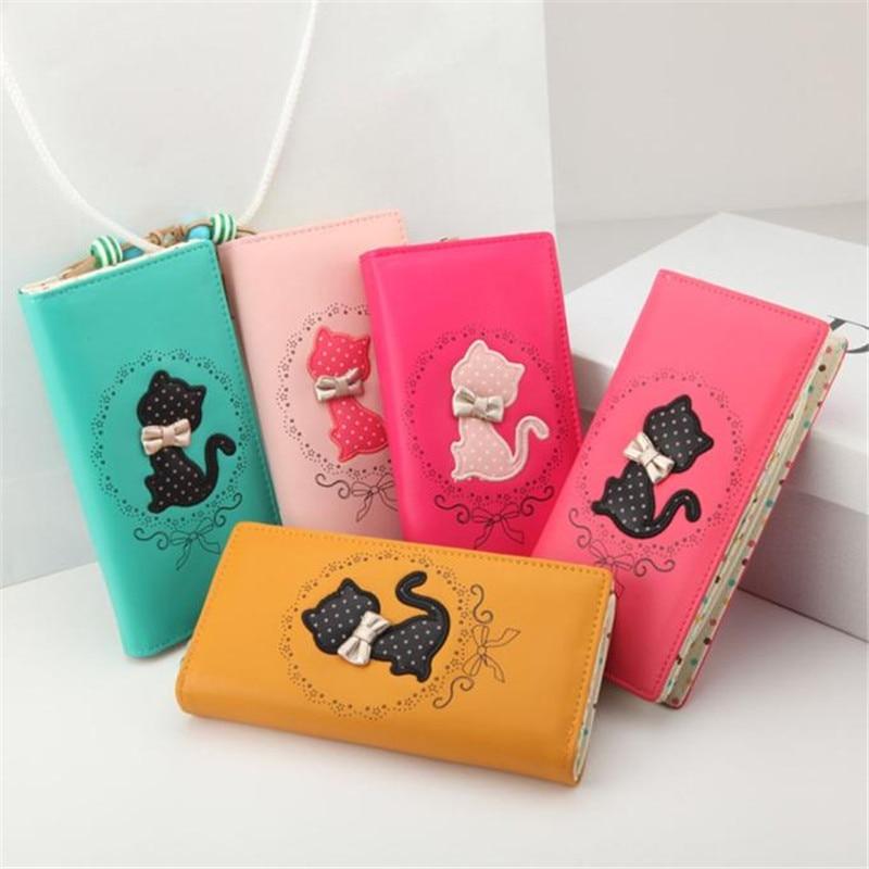 New retro cat bow polka dot women female leather long wallets purses clutch porte monnaie carteras