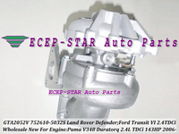 GTA2052VK 752610 0012 752610 0015 752610 0025 YC1Q6K682AE 752610 Turbo For Land Rover Defender Transit 6 Puma Duratorq 2.4L TDCi