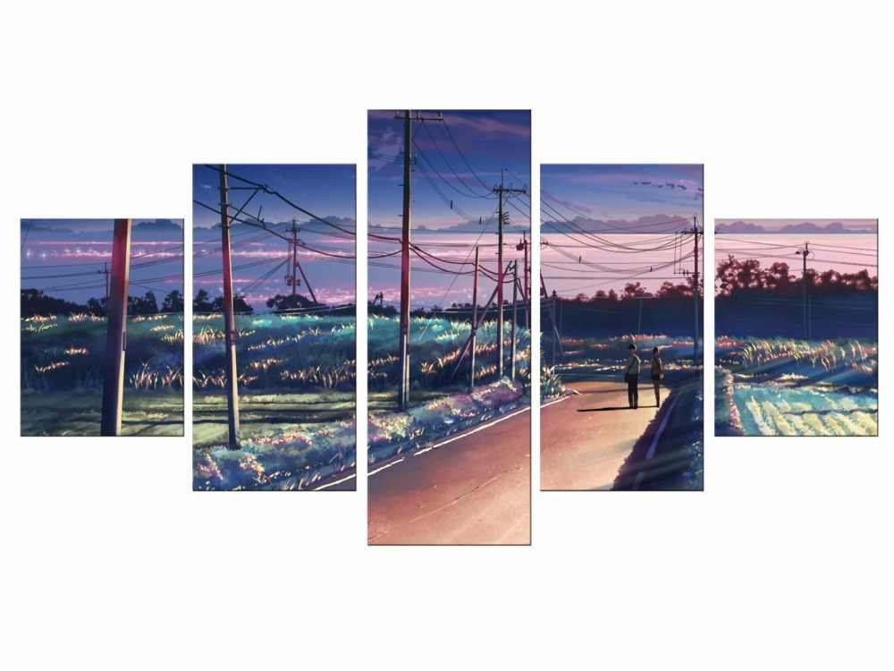 5pieces Free Shipping Modern Home Decor Art Wall Painting Anime Your Name Poster Printed On Canvas Painting For Kids Room Framed