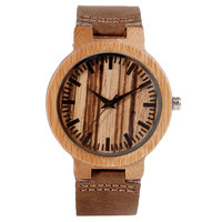 Wood Quartz Wrist Watch Stripe Dial Simple Nature Bamboo Pattern Genuine Leather Band Strap Boy