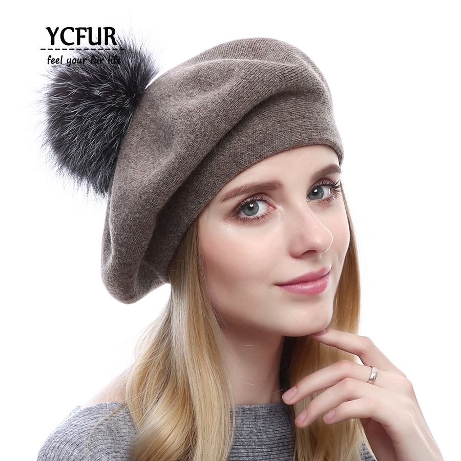 YCFUR Fashion Women Beret Hats Winter Autumn Spring Knit Wool Caps Hats With Silver Fox Fur