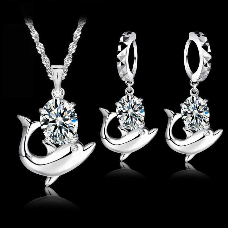 Shinning Zirkonia Heißer Verkauf Nette Dolphin Reinem 925 Sterling Silber Schmuck Sets Elegante Jahrestag Geschenk Für Frauen