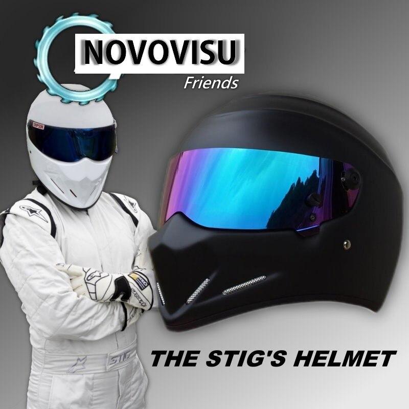 купить NOVOVISU For Top gear The STIG Helmet with Colorful Visor Full Face as SIMPSON Pig Matte Black Motorcycle Helmet Stig's Brothers по цене 5040.8 рублей