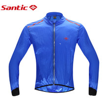 Santic Summer Autumn Cycling Raincoat Windproof Skin Coat Men's Jersey MTB Bike Bicycle Outdoor Sport Clothes UV Protection Blue