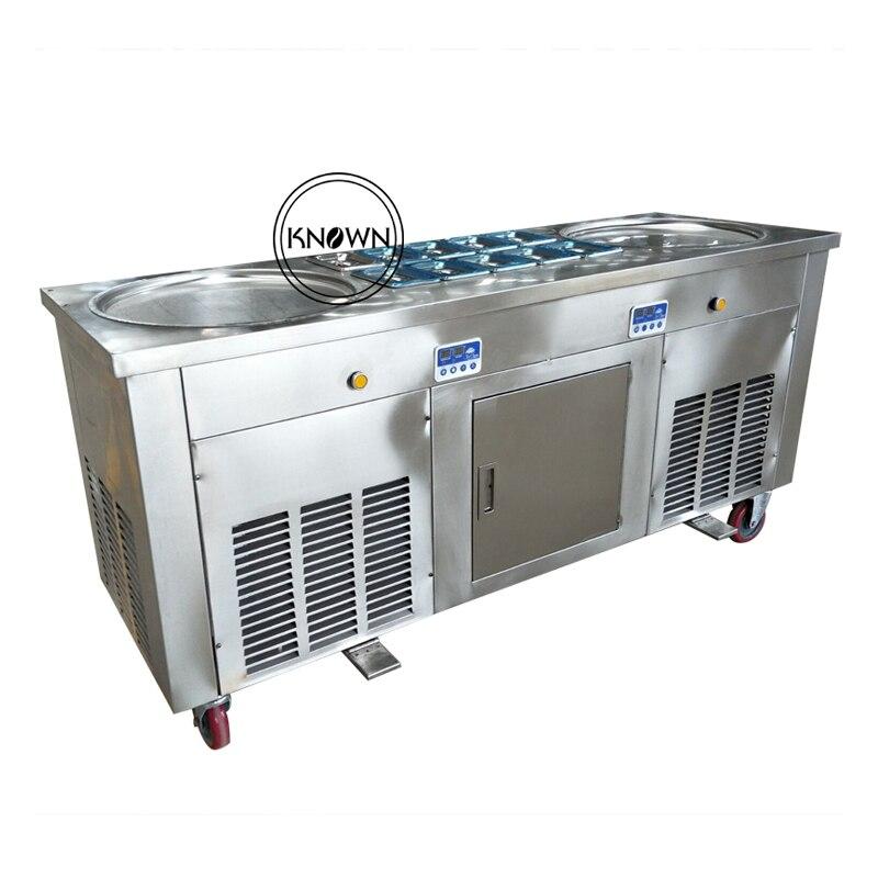 Certificato CE Doppia rotonda padelle roll Fritto/fry Ice Cream Maker/fare roller/rullo/rotolo macchina (trasporto libero via mare)