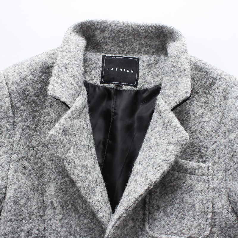 2018 осень и зима новый модный бутик сплошной цвет повседневные деловые мужские длинные шерстяные пальто/мужские серые длинные шерстяные куртки