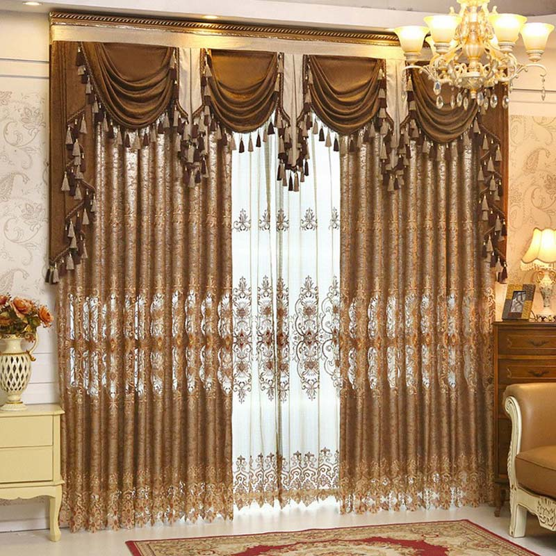 luxury gold embroidered curtains for living room european style valance curtains set window treatment decorative curtains - Valances For Living Room