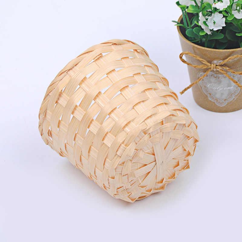 1 PC Handmade Organizador Sundries Caixa Potes Berçário Grama Do Mar Planta de Vime Cesta De Vime Cesta De Armazenamento de Palha Vaso de Flores Do Jardim