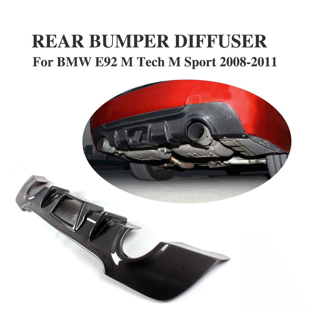 Carbon Fiber Rear Diffuser Lip Spoiler Fit For For BMW <font><b>E92</b></font> 335i M Sport Coupe <font><b>Bumper</b></font> 2008-2011 image