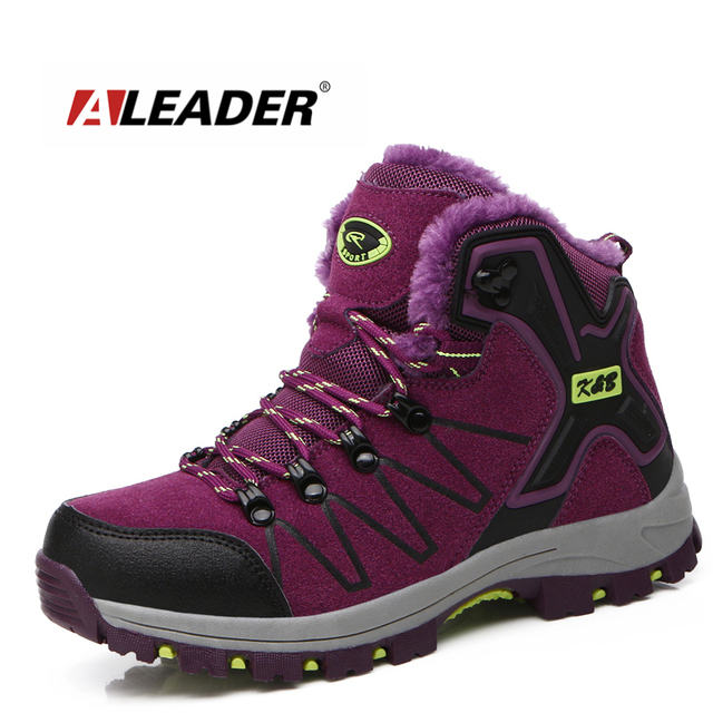 ALEADER Winter Womens Work Boots Warm Comfortable Safety Shoes Non-slip  Women Waterproof Work Shoes With Fur Walking Snow Boots 08aedaa10b24