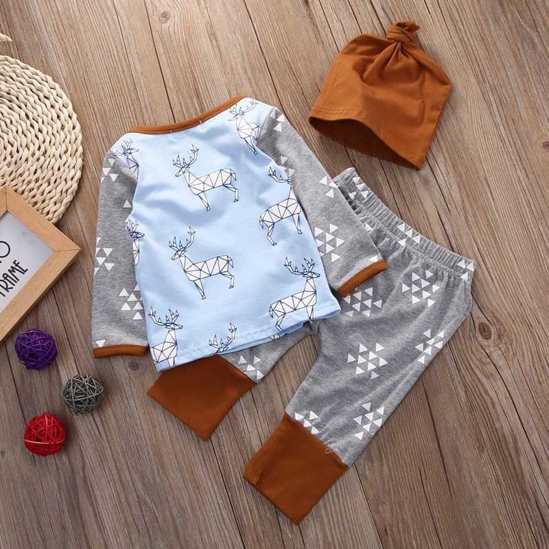 Newborn Baby Girls Boys T-shirt+Pants Hat 3PCS Outfits Deer Pajamas Clothes Set