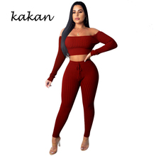 Kakan 2019 spring new womens body tights two-piece red black brown wine jumpsuit nine pants