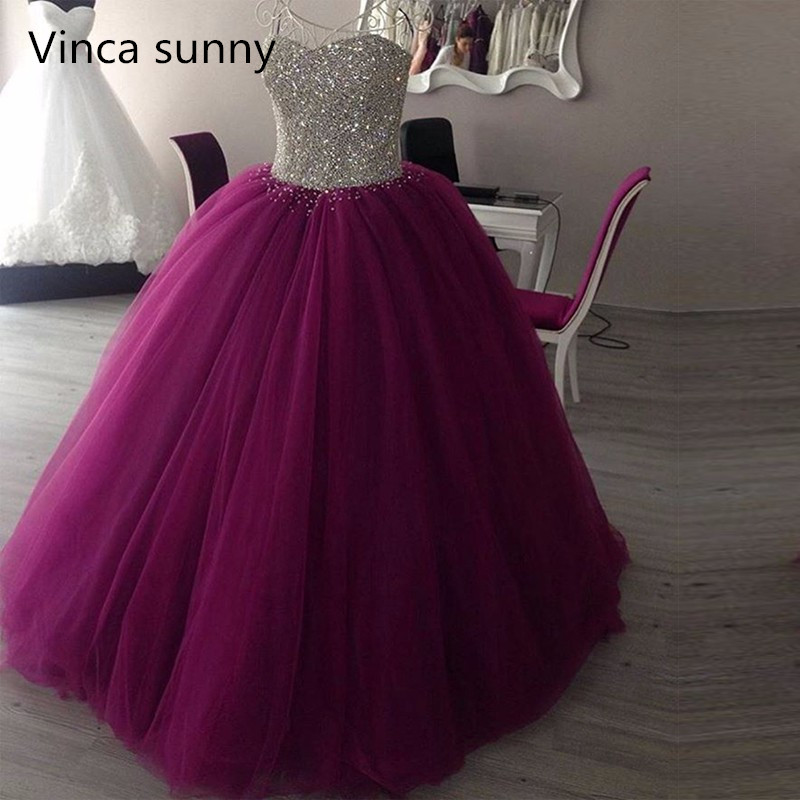 Sparkly Sweetheart Beaded Ball Gown   Prom     Dresses   2019 Real Picture Tulle Floor Length Sleeveless Puffy Burgundy Long   Prom     Dress
