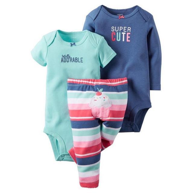 Baby Girl Одежда 3 шт. Мода печать Комплектов Одежды Хлопка Комбинезон + брюки Детей одежда установить следующий bebes Новорожденных Одежда