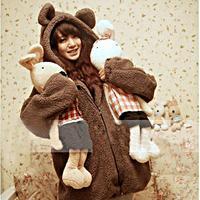 ホット販売女性パーカージッパーガールコート冬緩いふわふわクマ耳パーカーフード付きジャケット暖かい上着コートかわいいスウェットシャ