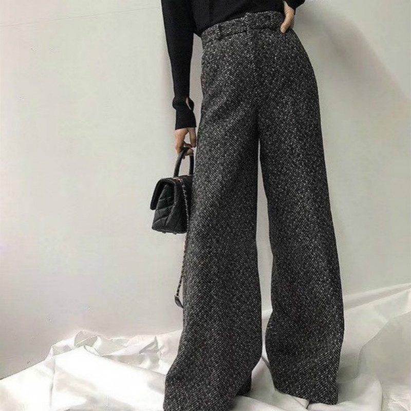 Riokeke Casual Wool High Waist Wide Leg Women's Pants Female Herringbone Trousers Women Winter Tweed Warm Pants Women 2018 New