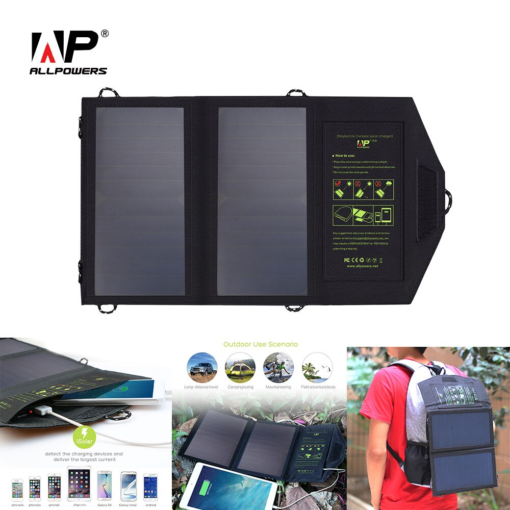 ALLPOWERS 14W Solar Charger 5v 2A Dual USB Solar Panel Power Charger Foldable Power Bank for