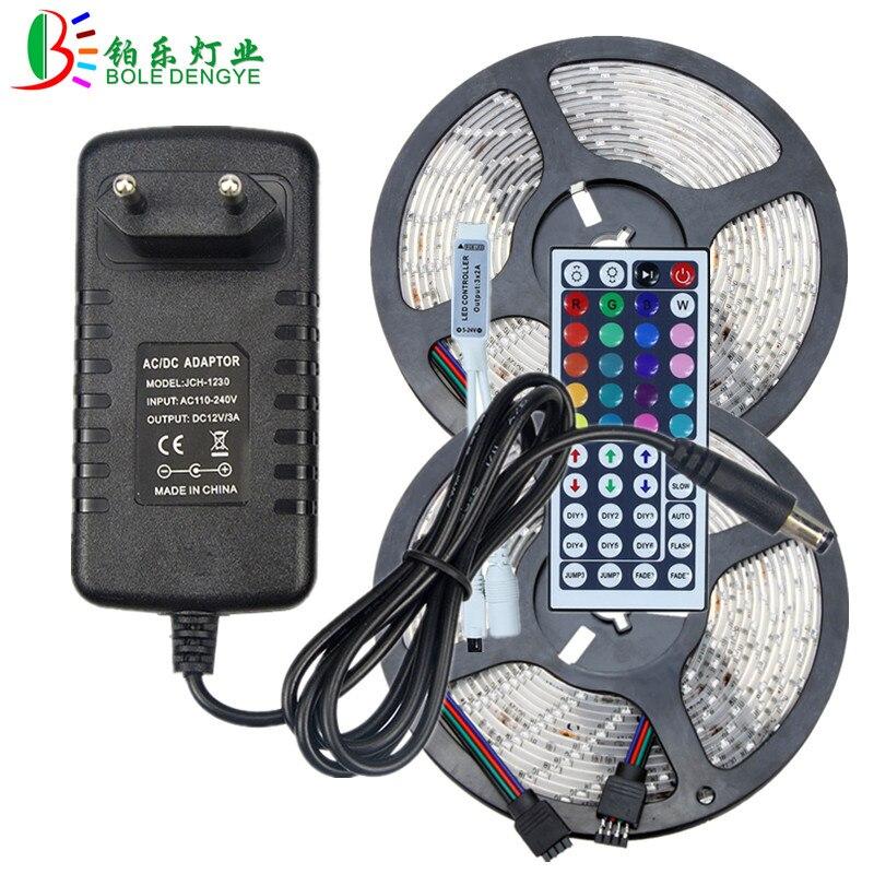 12V LED Strip Light SMD 2835 Waterproof RGB LED Strip Multicolor Flexible Tape Ribbon+44key RGB LED Controller+LED Power Adapter