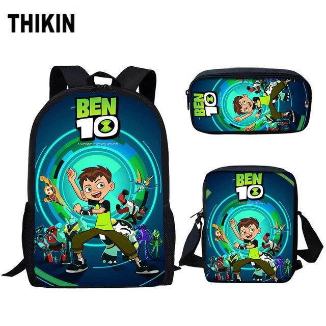 THIKIN Cartoon Ben 10 Games Print Children's 3PCS Set School Bags Kindergarten Boys Girls Kids School Backpack Mochila Escolar