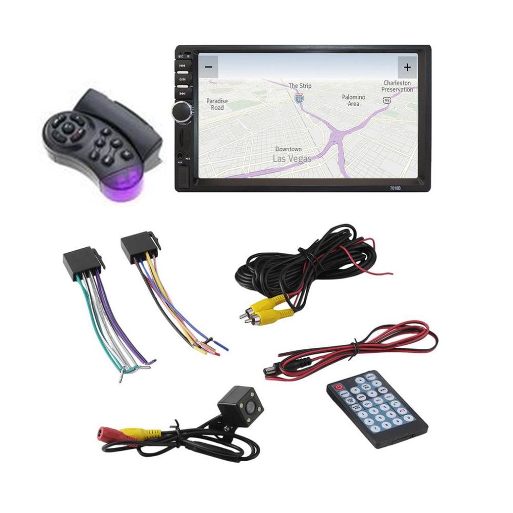 7018 2 Din 7 pollice HD Touch Screen Bluetooth In Dash 12 V Car Stereo Radio FM AUX USB MP3 MP5 Player Con Fotocamera E Remote