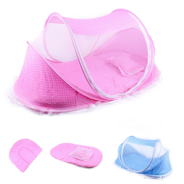Baby Crib Mosquito Net Tent Portable Multi-Function Cradle Bed Infant Foldable Mosquito Netting pillow+mats+music Box four sets