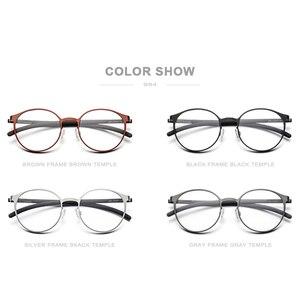 Image 5 - إطار نظارات فونكس الرجالية البصرية خفيفة الوزن مستديرة الشكل نظارات طبية لقصر النظر للنساء نظارات بدون مسامير معدنية 984