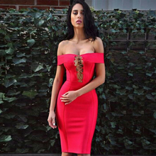 2018 Newest Summer Bandage Dress Women Celebrity Short Sleeve Off Shoulder Sexy Night Out Party Dress Women Vestidos Wholesale