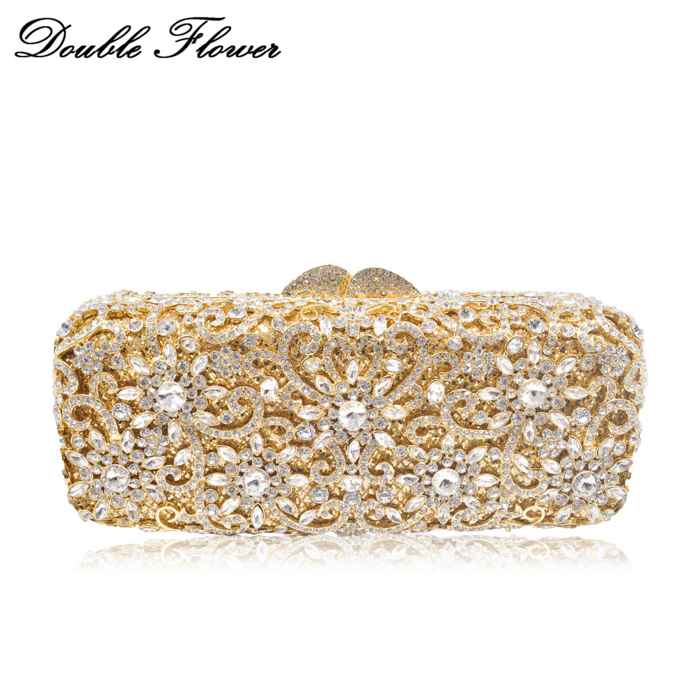 Double Flower Hollow Out Elegant Women Crystal Evening Bag Hardcase Metal Clutch Minaudiere Handbag Wedding Bridal Floral Purse elegant faux zircon hollow out anklet for women
