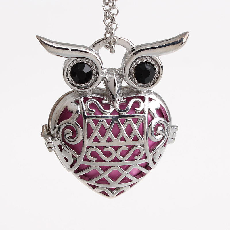 5pcs/lot Cute Owl Large Hollow Cage Mexican Chime Magic Box Bola Sound Ball Pendant Long Chain Pregnancy Necklaces HCPN46