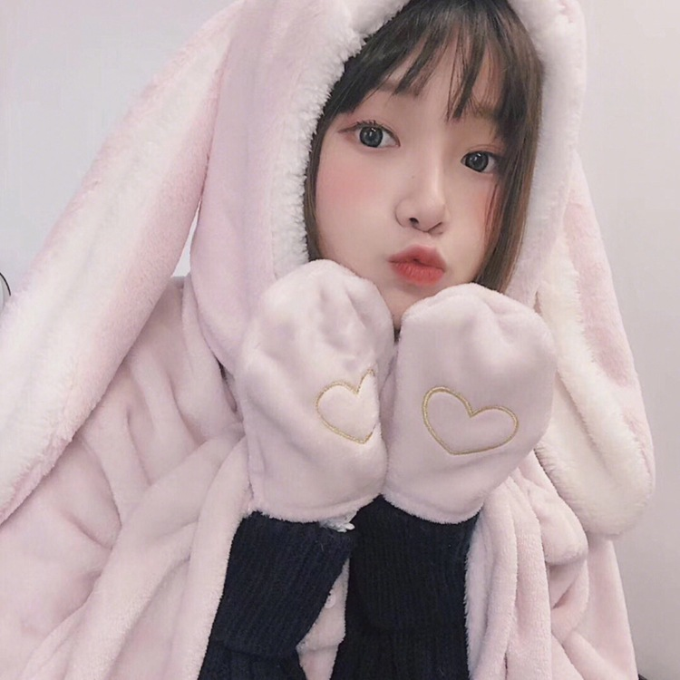 Cute Pink Comfy Blanket Sweatshirt Winter Warm Adults and Children Rabbit Ear Hooded Fleece Blanket Sleepwear Huge Bed Blankets 70